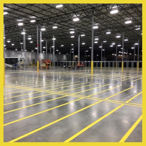 Large Warehouse Line Striping