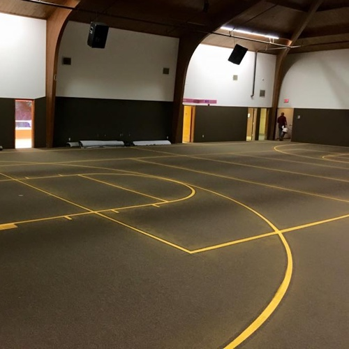 Fort worth athletic court marking dallas basketball for Homemade indoor basketball court